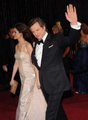 Colin Firth and his wife Livia Giuggioli  arrive at the 83rd Academy Awards in Hollywood