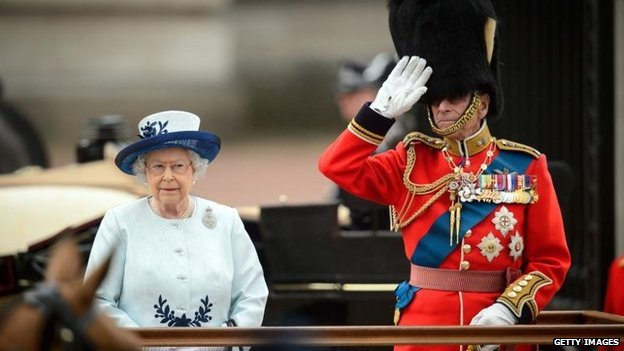 The Duke of Edingburgh Salutes the Troops. Trooping the Colour 2014