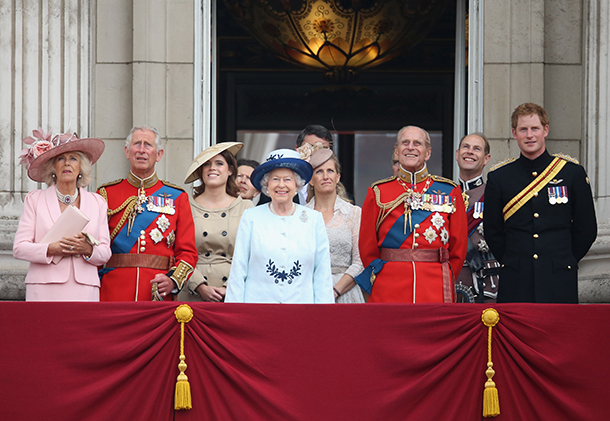 Left to right: The Duchess of Cornwall, Prince Charles, Princess Eugenie, Princess Anne, The Queen, Timothy Lawrence, The Countess of Wessex, Prince Philip, Prince Edward and Prince Harry