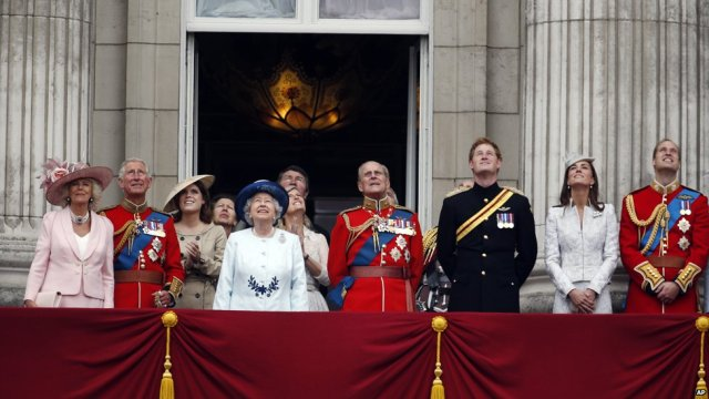 The Royal Family watches the flypast at this year's Trooping the Colour