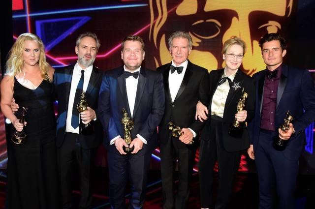 Orlando Bloom, Meryl Streep, Harrison Ford, Sam Mendes, James Corden and Amy Schumer
