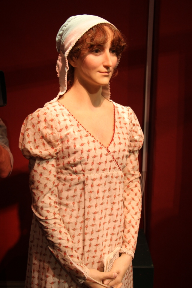 New Jane Austen Wax Sculpture on display at The Jane Austen Centre, Bath