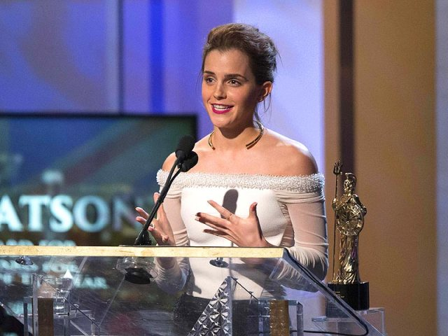 Emma Watson accepts the Britannia Award for British Artist of the Year