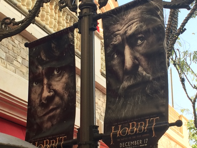 Banner flags featuring Bilbo and Gandalf