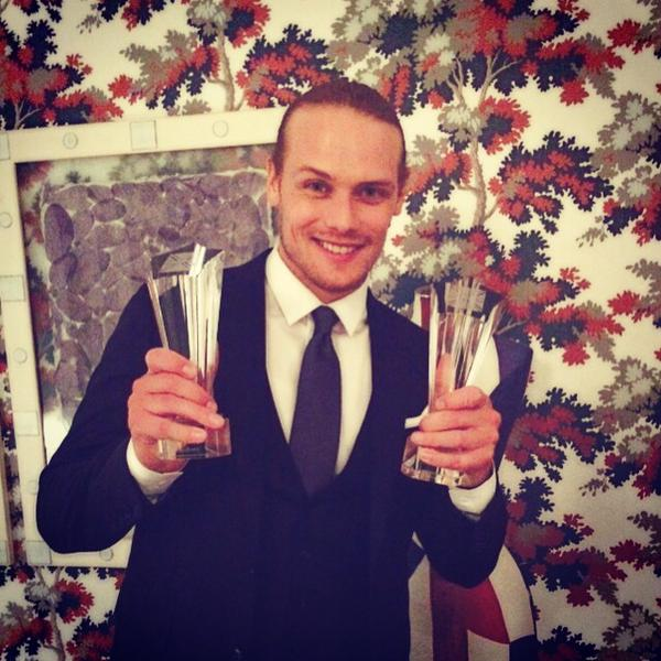 Sam Heughan accepts The Anglophile Channel Award for Favorite British Artist of the Year