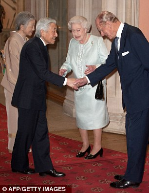 The Queen and Prince Philip greet the Emperor of Japan, Akihito and Empress Michiko during Queen's Diamond Jubilee