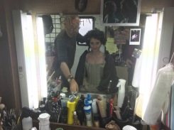 Richard, wraps MY hair around the wig and begins to 'shape' it into a first class 18th century do!