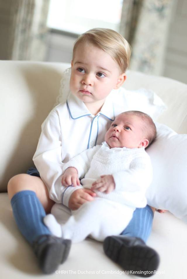 Like this mummy? Prince George holds his newborn baby sister.
