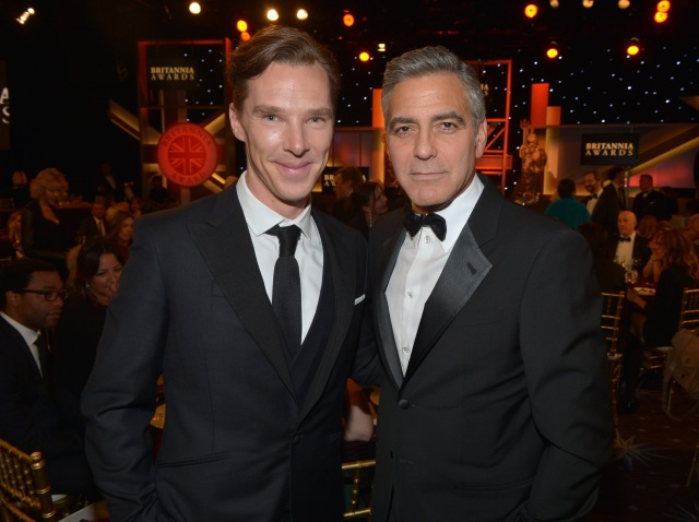 BEVERLY HILLS, CA - NOVEMBER 09: Actor Benedict Cumberbatch (L) and filmmaker George Clooney attend the 2013 BAFTA LA Jaguar Britannia Awards presented by BBC America at The Beverly Hilton Hotel on November 9, 2013 in Beverly Hills, California. (Photo by Michael Buckner/BAFTA LA/Getty Images for BAFTA LA)