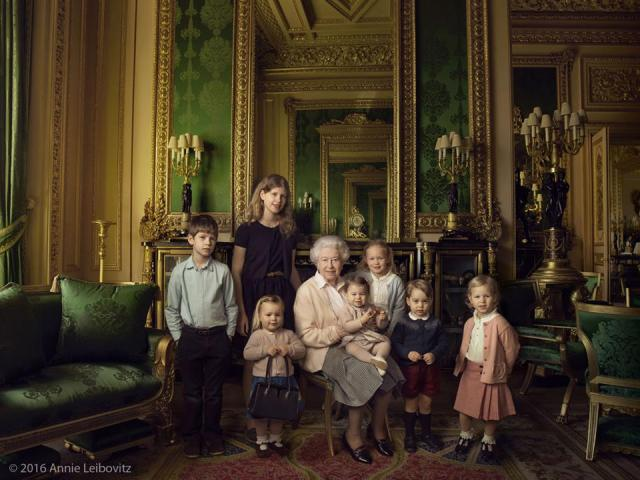 he children are, from bottom left: Mia Tindall (holding The Queen's handbag), the two year old daughter of Zara and Mike Tindall; James, Viscount Severn (aged 8) and Lady Louise (12), the children of The Earl and Countess of Wessex and the youngest of The Queen's eight grandchildren; Savannah (5) and Isla Phillips (3), daughters of The Queen's eldest grandson Peter Phillips and his wife Autumn; Prince George (2) and, in The Queen's arms and in the tradition of Royal portraiture, the youngest great-grandchild, Princess Charlotte (11months), children of The Duke and Duchess of Cambridge.