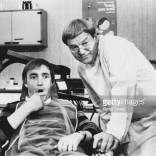 Comic actors Kelly Monteith (left) and Frederick Jaeger performing a dentist sketch from the BBC television show 'Kelly Monteith', July 24th 1981. (Photo by Don Smith/Radio Times/Getty Images)